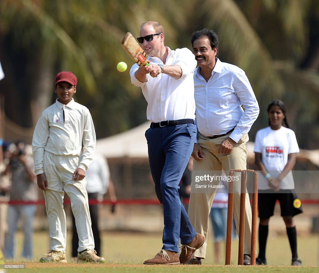 Prince William, Duke of Cambridge visits the Oval Maidan ground for a children's cricket match and meeting with local children on April 10, 2016 in Mumbai, India.