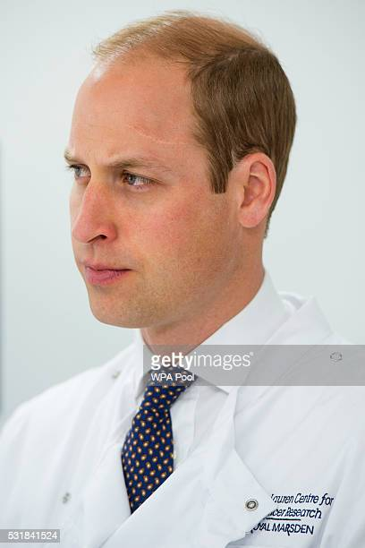 Prince William Duke of Cambridge visits the Royal Marsden NHS Foundation Trust in Chelsea as he marks the opening of the hospital's new centre for...