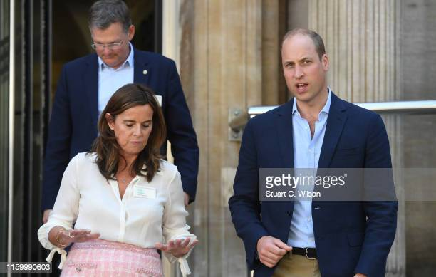 Prince William, Duke of Cambridge visits the Royal Marsden on July 04, 2019 in London, United Kingdom. HRH is the President of The Royal Marsden NHS...