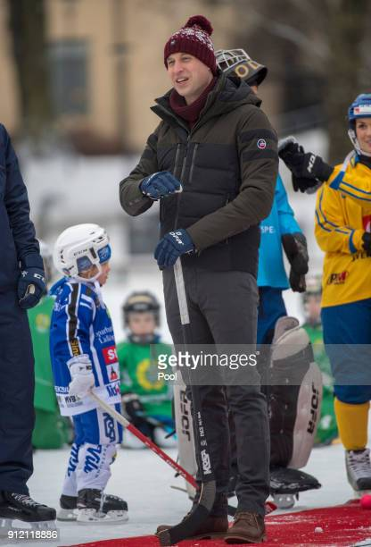 Prince William Duke of Cambridge visits the Stockholm bandy team Hammarby IF where they will learn more about the popularity of the sport during day...