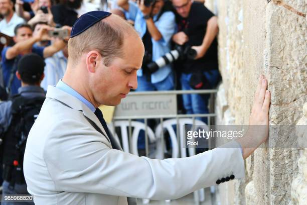 Prince William Duke of Cambridge visits the Western Wall Judaism's holiest place of prayer in Jerusalem's Old City on June 28 2018 in Jerusalem...