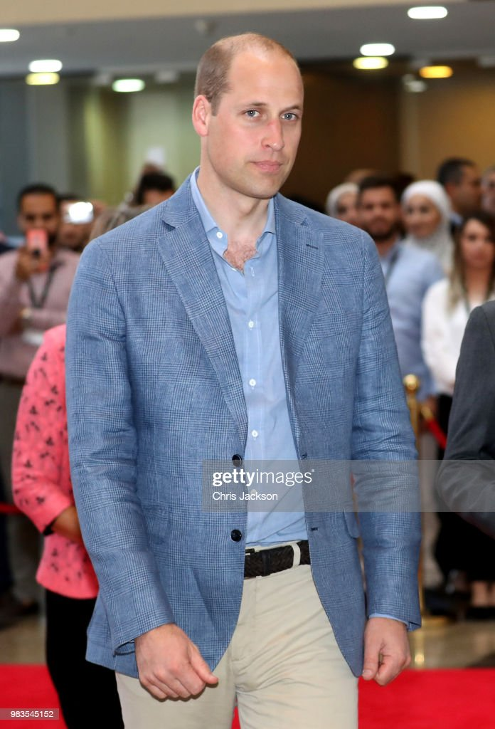 Prince William, Duke of Cambridge visits vocational training college Al Quds, which has links to Middlesex University, during his official tour of Jordan, Israel and the Occupied Palestinian Territories on June 25, 2018 in Amman, Jordan. Al Quds works in partnerships with NGOs to offer technical and vocational training for young Jordanian and Syrian refugee students.