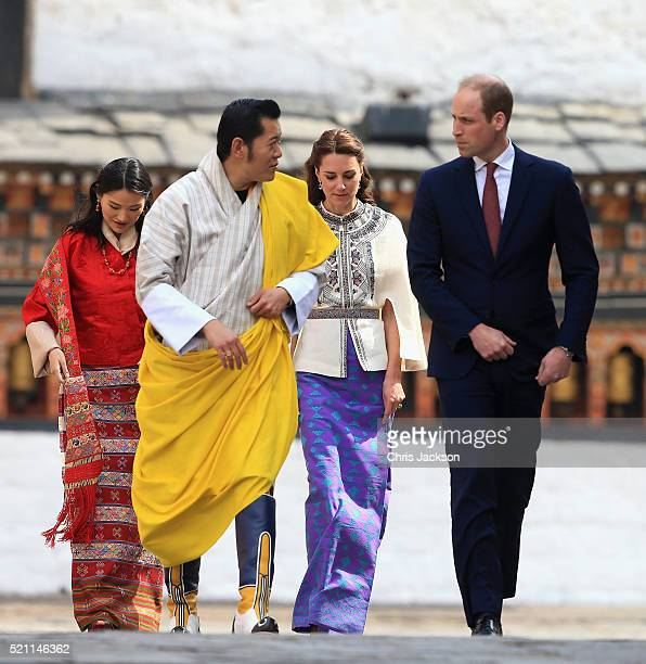 Prince William Duke of Cambridge walks with His Majesty King Jigme Khesar Namgyel Wangchuck follwed by Catherine Duchess of Cambridge and Her Majesty...