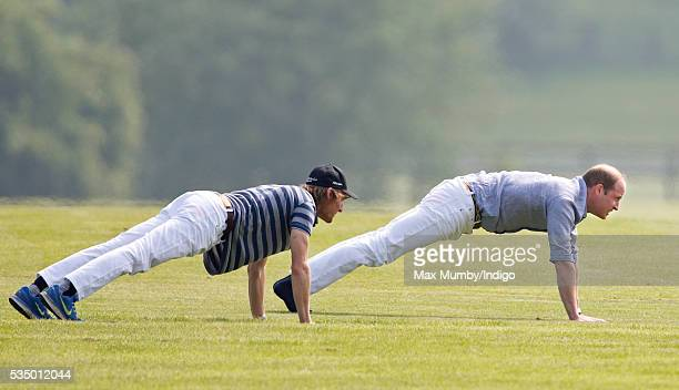 Prince William Duke of Cambridge warms up before talking part in the Audi Polo Challenge at Coworth Park Polo Club on May 28 2016 in Ascot England