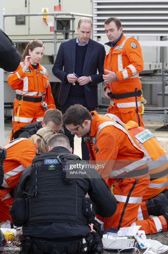 The Duke Of Cambridge Visits London's Air Ambulance Charity : News Photo