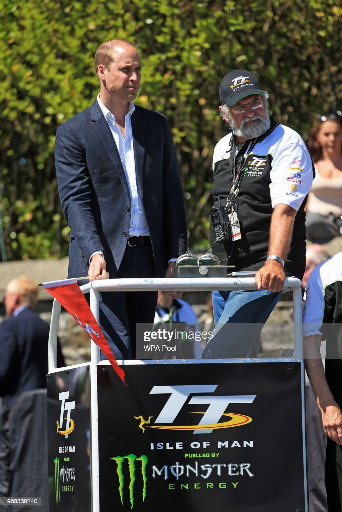 Prince William, Duke of Cambridge watches competitors in the Isle of Man TT on June 6, 2018, Isle of Man, United Kingdom.