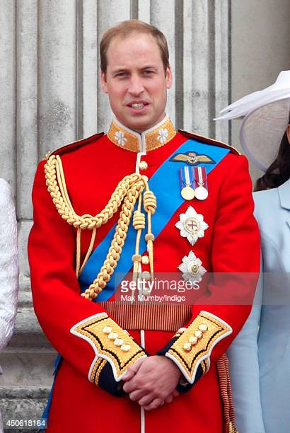 Prince William Duke of Cambridge watches the flypast from the balcony of Buckingham Palace during Trooping the Colour Queen Elizabeth II's Birthday...