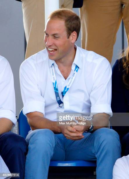 Prince William Duke of Cambridge watches the Wales v Scotland Hockey match at the Glasgow National Hockey Centre during the 20th Commonwealth Games...