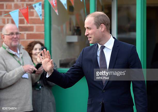 Prince William Duke of Cambridge waves as he leaves after a visit to Padley Development Centre on November 30 2016 in Derby England Padley founded in...