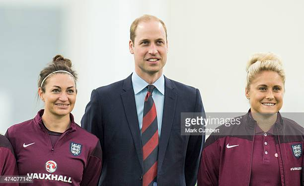 Prince William Duke of Cambridge with Captain Steph Houghton and Jodie Taylor during a visit to meet the England Women Football Team ahead of FIFA...