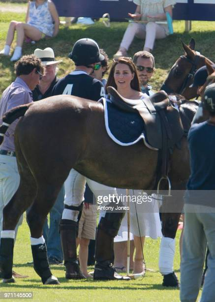 Prince William Duke of Cambridge with Catherine Duchess of Cambridge during the Maserati Royal Charity Polo Trophy at Beaufort Park on June 10 2018...