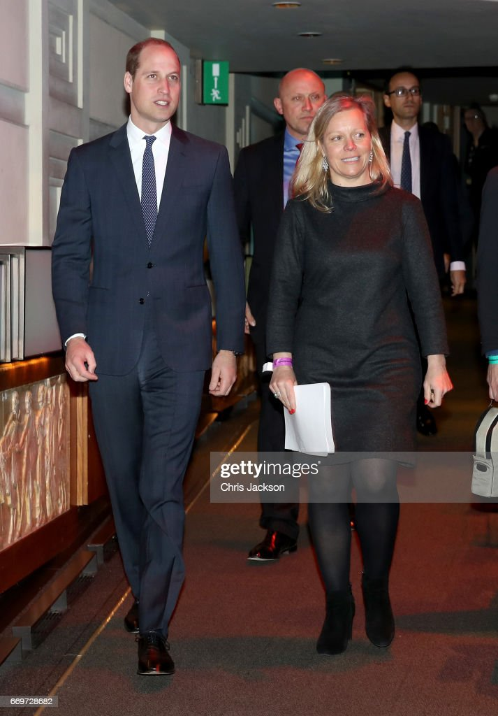 Prince William, Duke of Cambridge with Charlotte Moore, BBC Director of Content (R) as he attends a screening of the BBC documentary 'Mind over Marathon' at BBC Radio Theatre on April 18, 2017 in London, England. The screening also launches the BBC season on mental health.