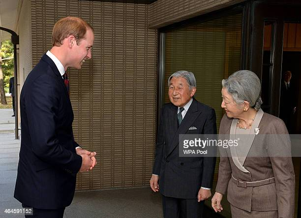 Prince William Duke of Cambridge with Emperor Akihito and Empress Michiko after he arrived for lunch at the couple's residence within the Royal...