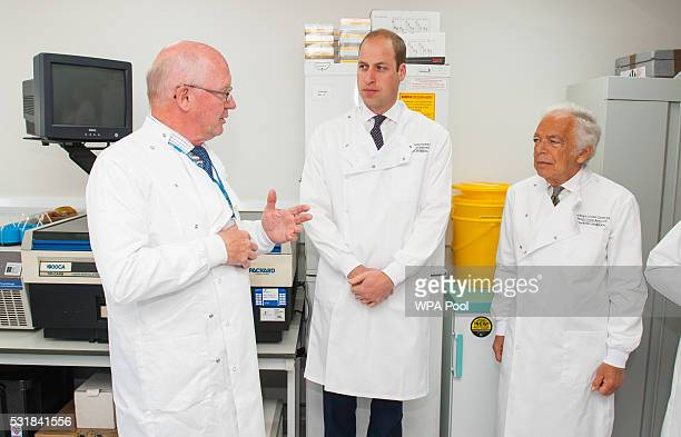 Prince William Duke of Cambridge with Head of Research Centre Professor Mitch Dowsett and Ralph Lauren during a visit to the Royal Marsden NHS...