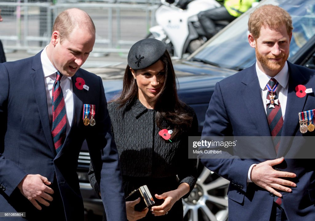 Prince William, Duke of Cambridge with Prince Harry and Meghan Markle attend an Anzac Day service at Westminster Abbey on April 25, 2018 in London, England.