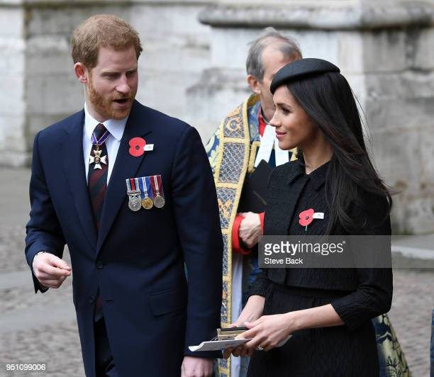 Prince William Duke of Cambridge with Prince Harry and Meghan Markle attend an Anzac Day service at Westminster Abbey on April 25 2018 in London...