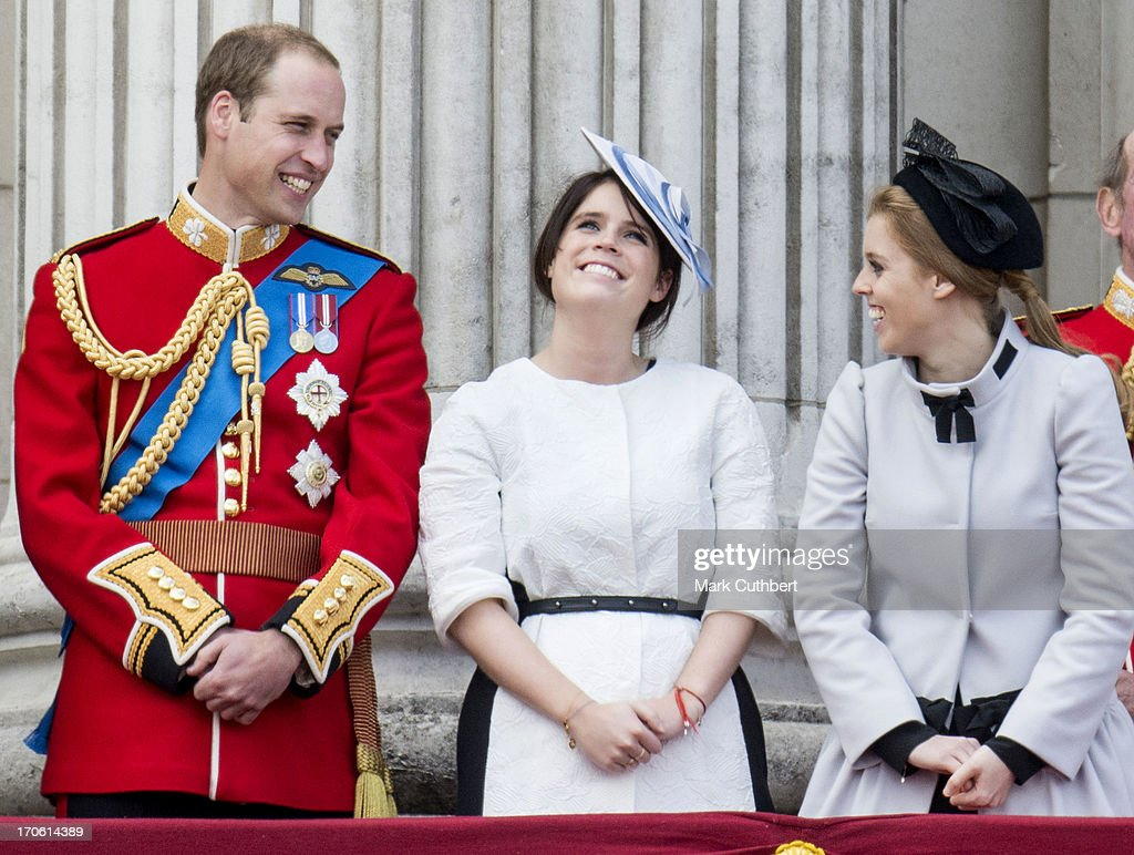 Prince William, Duke of Cambridge with Princess Eugenie and Princess Beatrice during the annual Trooping The Colour ceremony at Buckingham Palace on June 15, 2013 in London, England.