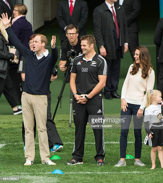 Prince William Duke of Cambrige Catherine Duchess of Cambridge and All Blacks captain Richie McCaw watch a young players' Rugby tournament at Forsyth...