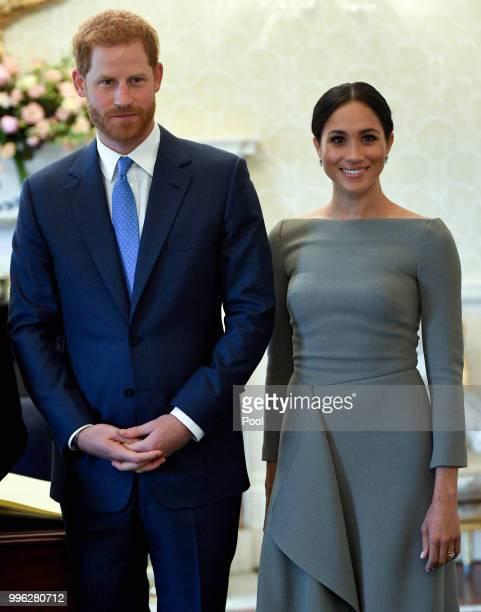 Prince William Duke of Sussex and Meghan Duchess of Sussex seen during their visit to Ireland at Aras an Uachtarain on July 11 2018 in Dublin Ireland