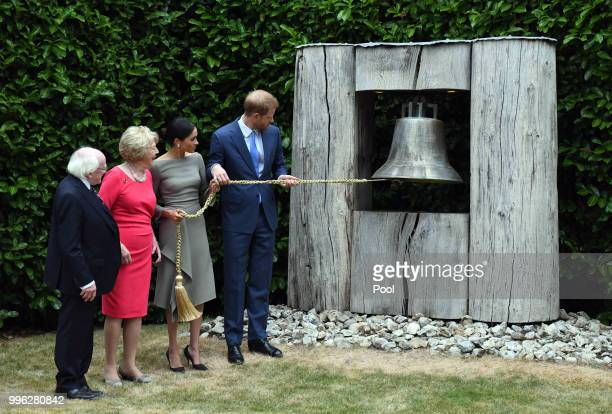 Prince William Duke of Sussex and Meghan Duchess of Sussex seen with the Irish President Michael Higgins and his wife Sabina Coyne during their visit...