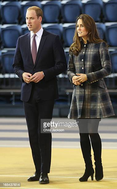 Prince William Earl of Strahearn and Catherine Countess of Strathearn visit the Emirates Arena on April 4 2013 in Glasgow Scotland The Emirates Arena...