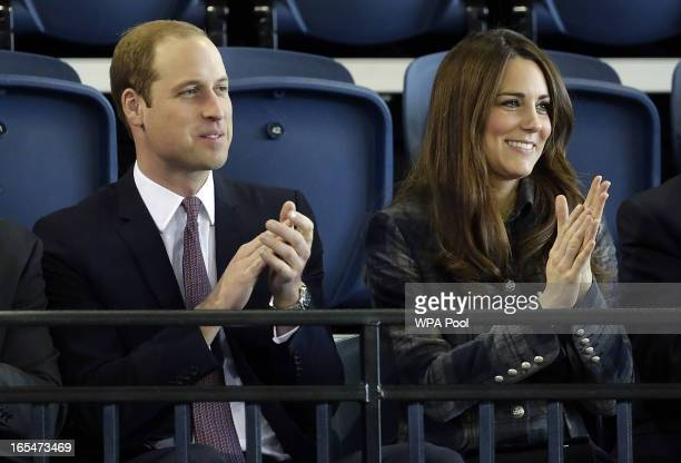 Prince William Earl of Strathearn and Catherine Countess of Strathearn are seen during her visit to the Emirates Arena on April 4 2013 in Glasgow...