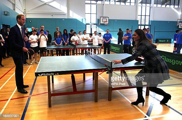 Prince William Earl of Strathearn and Catherine Countess of Strathearn play table tennis at the Donald Dewer Leisure centre on April 4 2013 in...