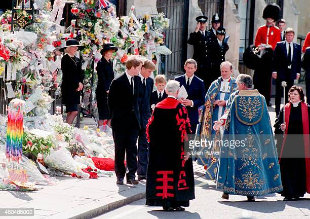 Prince William Earl Spencer Prince Harry and Charles Prince of Wales at the Funeral of Diana Princess of Wales at Westminster Abbey London on...