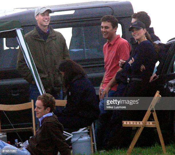 Prince William enjoys a joke with girlfriend Kate Middleton on his birthday at Beaufort Polo Club on June 21 2008 in Tetbury England The pair were...