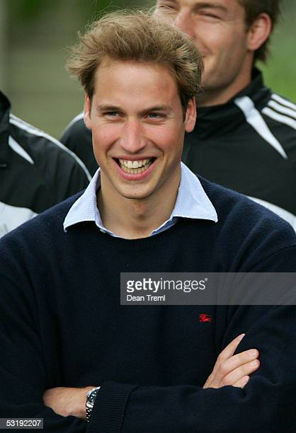 Prince William enjoys a laugh during an All Blacks public autograph signing session at Western Springs July 4 2005 in Auckland New Zealand