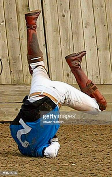 Prince William falls from his horse during a polo match playing for the Hayley Charity Trophy in aid of victims of Indian Earthquake Tsunami held at...