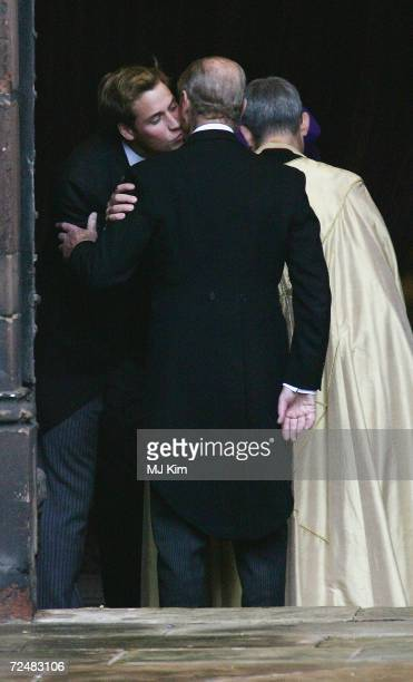 Prince William greets his grandfather The Duke Of Edinburgh as they attend the wedding of Ed Van Cutsem and Lady Tamara Grosvenor at Chester...
