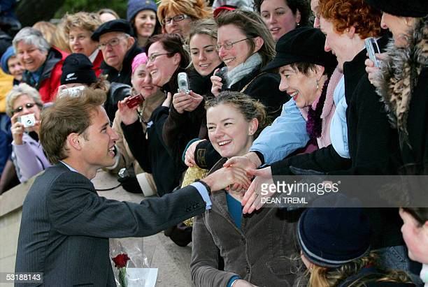 Prince William greets members of the public after a wreath laying ceremony at the National War Memorial in Wellington 03 July 2005 Prince William is...