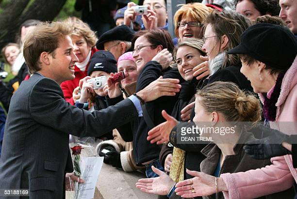 Prince William greets members of the public after a wreath laying ceremony at the National War Memorial in Wellington, 03 July 2005. Prince William...
