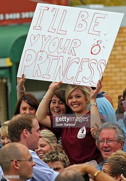 Prince William greets members of the public outside Kerang Memorial Hall after attending a flood briefing on March 21 2011 in Kerang Australia His...