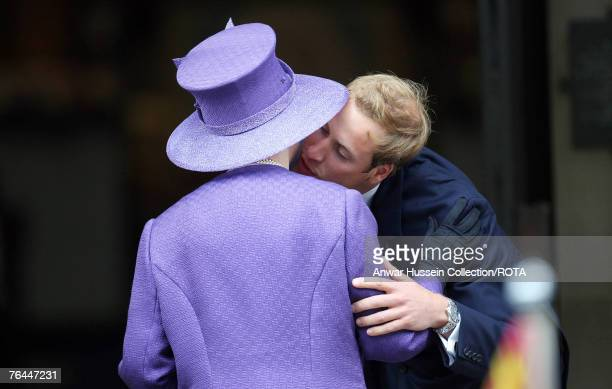 Prince William greets Queen Elizabeth ll with a kiss at the Service to celebrate the life of Diana, Princess of Wales at the Guards Chapel on August...