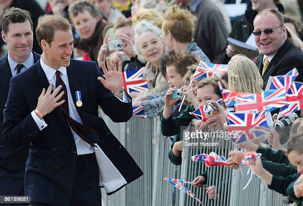 Prince William greets the crowd as he visits the National Memorial Arboretum to launch the NMA Future Foundations Appeal on April 24, 2009 near...