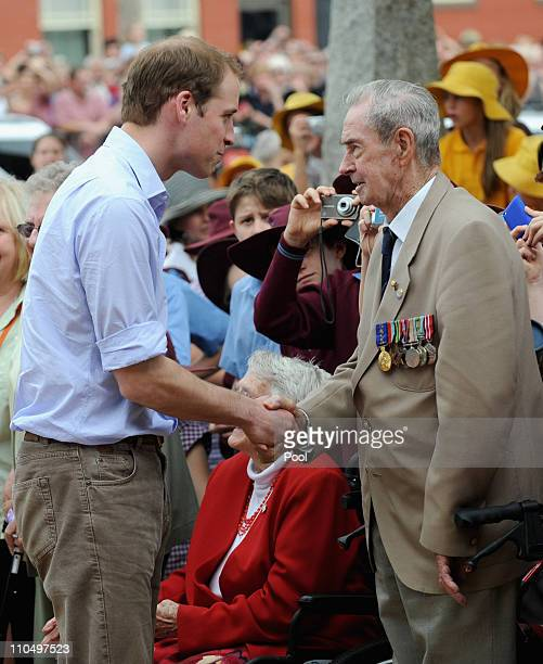 Prince William greets war veteren Bruce Hughes on March 21 2011 in Kerang Australia His Royal Highness is in Victoria to visit towns affected by...