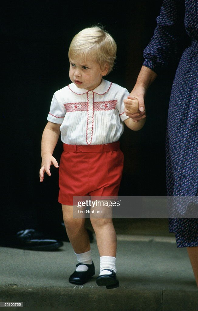 Prince William Holding Hands With His Nanny As He Leaves The Lindo Wing Of St Mary's Hospital After Visiting His New Brother.