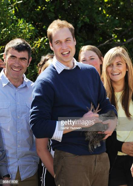 Prince William holds a Kiwi bird as he visits Kapiti Island Nature Reserve on the second day of his visit to New Zealand on January 18 2010 in...