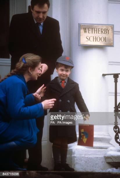 Prince William holds his first morning's work outside his new school - Wetherby School in Notting Hill Gate, London.