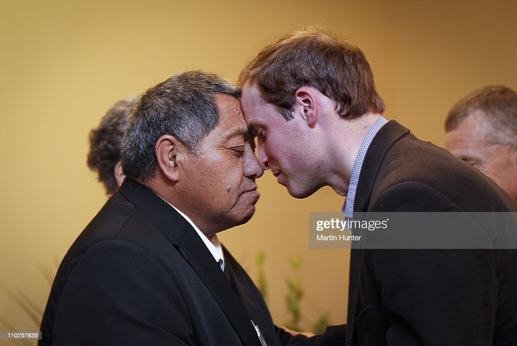 Prince William hongi's with maori elder Ben Hutana (L), a maori kiss during a visit to Shantytown on March 17, 2011 in Greymouth, New Zealand. His Royal Highness is in New Zealand for two days to tour areas devastated by the Christchurch Earthquake and to visit families who lost loved ones at the Pike River Mine in Greymouth. Prince William will then travel to Australia on Saturday for three days where he will visit regions affected by floods and Hurricane Yasi in Queensland, as well as flood-affected parts of Australia.