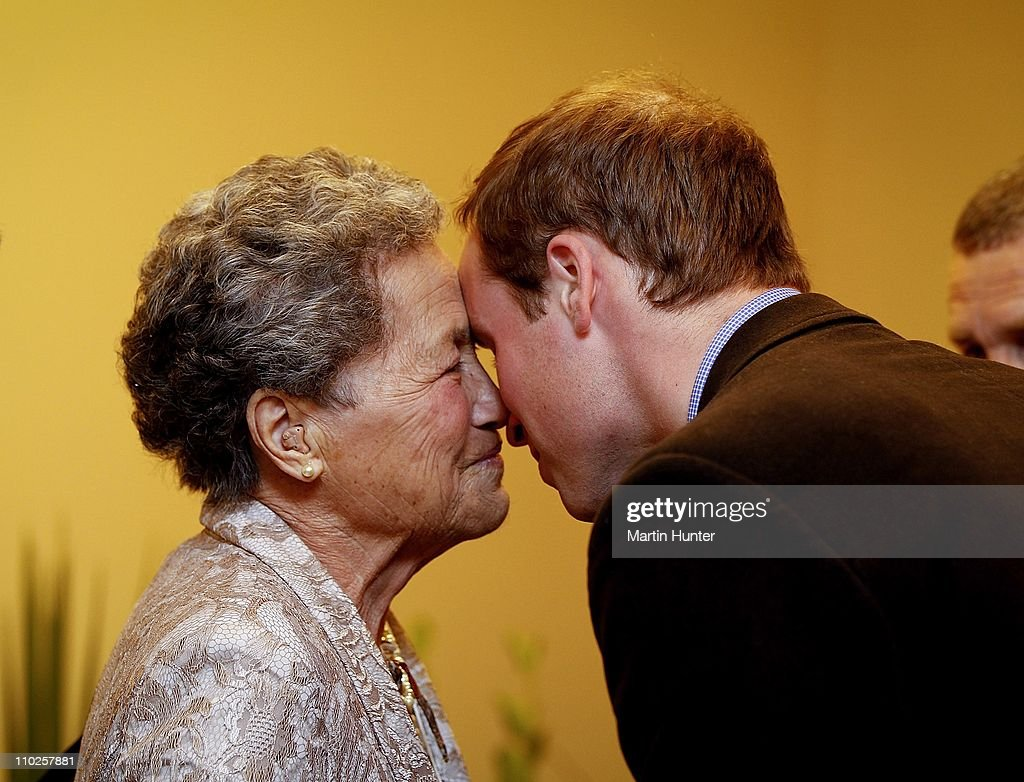 Prince William (R) hongi's with maori elder Mary Tulloch, a maori kiss during a visit to Shantytown on March 17, 2011 in Greymouth, New Zealand. His Royal Highness is in New Zealand for two days to tour areas devastated by the Christchurch Earthquake and to visit families who lost loved ones at the Pike River Mine in Greymouth. Prince William will then travel to Australia on Saturday for three days where he will visit regions affected by floods and Hurricane Yasi in Queensland, as well as flood-affected parts of Australia.