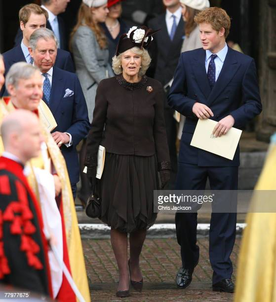 Prince William HRH Prince Charles The Prince of Wales Camilla The Duchess of Cornwall and Prince Harry leave HRH Queen Elizabeth II and Prince...