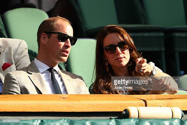Prince William HRH The Duke of Cambridge and Catherine HRH The Duchess of Cambridge look on during the Mixed Doubles Final match between Heather...