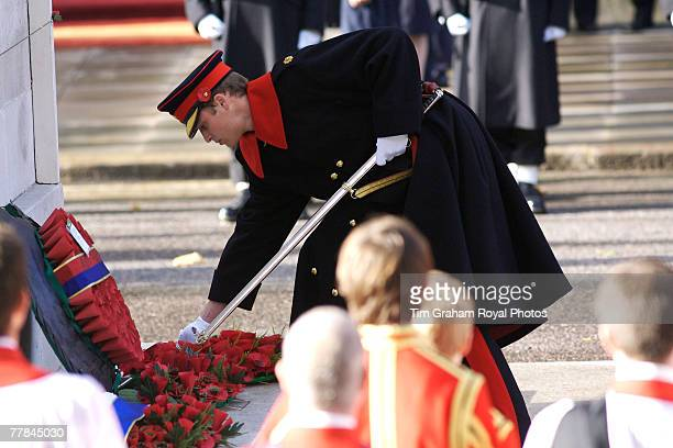 Prince William in ceremonial dress uniform as serving officer in the Blues and Royals takes his official place for the first time at the Cenotaph in...