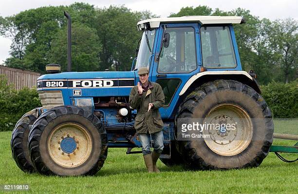 Prince William In Countryman Outfit Of Tweed Cap And Waxed Jacket Visiting The Duchy Home Farm On His Father's Duchy Of Cornwall Estate Near His Home...