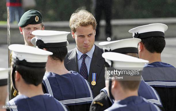 Prince William inspects the Guard of Honor at the Auckland War Memorial Museum during a wreath laying ceremony on the 60th anniversary of VE day July...