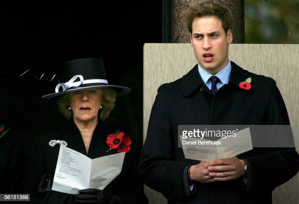 Prince William is accompanied by his stepmother Camilla the Duchess of Cornwall during the Remembrance Sunday Service At The Cenotaph on November 13...