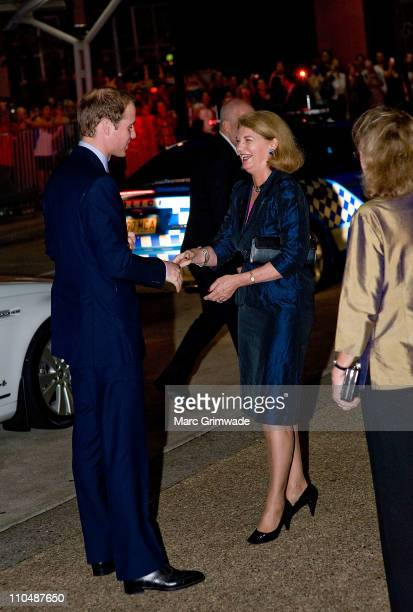 Prince William is greeted by the Governor of Queensland Ms Penelope Wensleyon arrival at the Premier's Gala Dinner at the Brisbane Convention and...